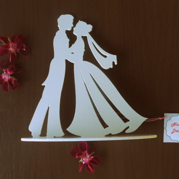 Topo de bolo casamento MDF