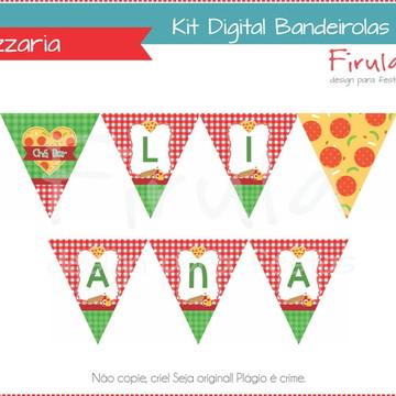 Kit Digital Bandeirolas Pizzaria Festa Pizza