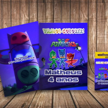 Kit Colorir Personalizado PJ Mask