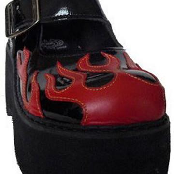 53513caed Sapato Boneca Envernizado Flame Chamas Plataforma Couro 054