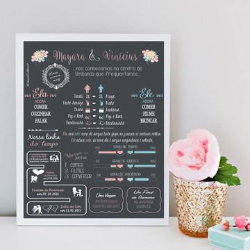 Chalkboard Casamento com moldura A3