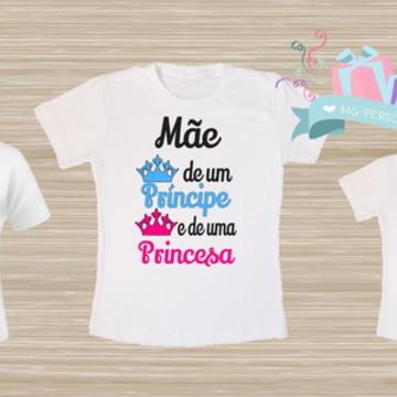 kit de camiseta mãe de príncipe e princesa