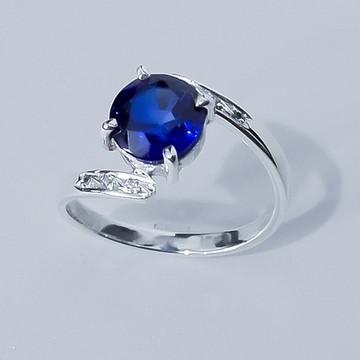 Anel em Prata 950 Com Safira Azul