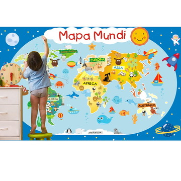Adesivo Mapa Mundi infantil m04