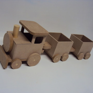 Locomotiva Trenzinho trem 2 vagões madeira mdf