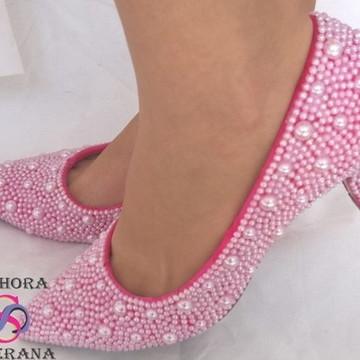 5e7557bd93 sapato rosa Perolado Mesclado (Noivas)