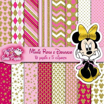 KIT DIGITAL Minnie rosa e dourado
