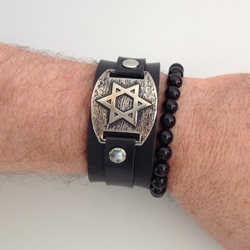 Duo de pulseiras: Estrela de Davi + ônix