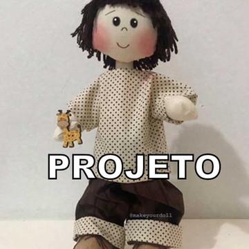 Projeto de Papel Boneco Mini com girafa