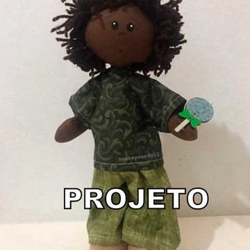 Projeto de Papel Boneco Mini com pirulito