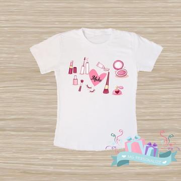 camiseta maquiadora personalizada