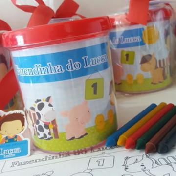 Lembrancinha Fazendinha - Caneca com kit colorir 1
