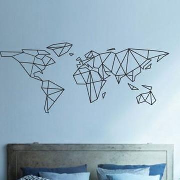 Adesivo Mapa Mundi Linhas