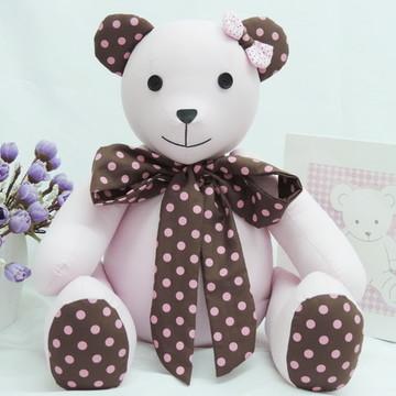 Urso de Tecido Rosa e Marrom e Rosa