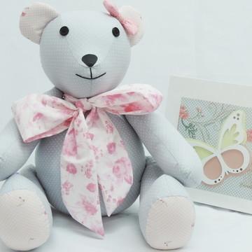Urso de Tecido Cinza e Rosa