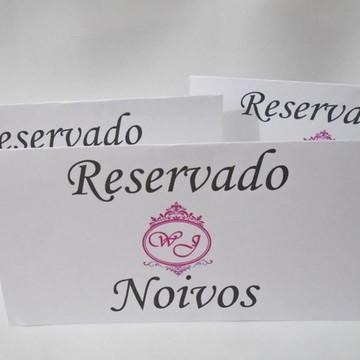 Placa Reservado Brasão Rosa