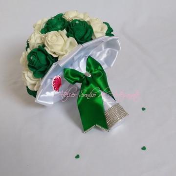 Buquê de noiva (M) - Verde e branco