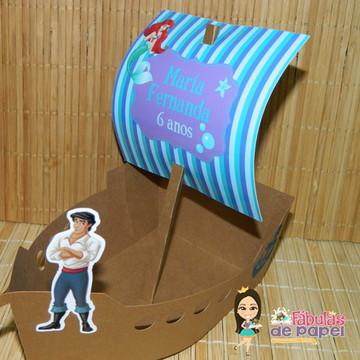 Centro de mesa Barco Pequena Sereia Ariel