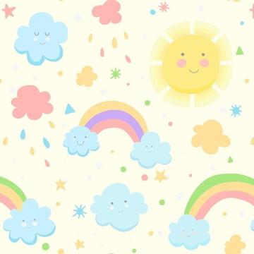 Papel de Parede Infantil Unissex Nuvem Sol Arco íris 10 metr