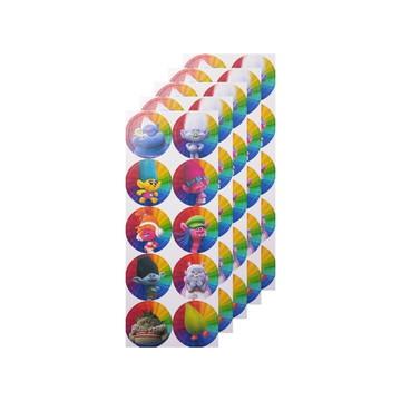Cartela de Adesivos TROLLS 25mm