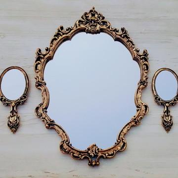 Kit Espelhos Ornament Ouro Velho - Pronta Entrega