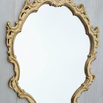 Espelho Ornament Bege Ouro Provençal - Pronta Entrega
