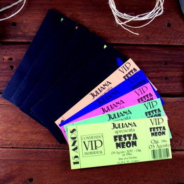 Convite Festa Neon Várias Cores Brilha na Luz Negra com Env.