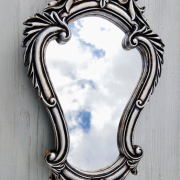 Espelho Vitoriano Prata Velha - Pronta Entrega