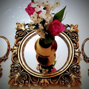 Kit Bandeja e Espelho de mão Ouro Velho
