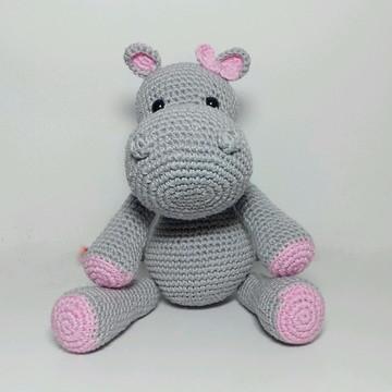Hipopótamo de crochê (Amigurumi) - Rosa