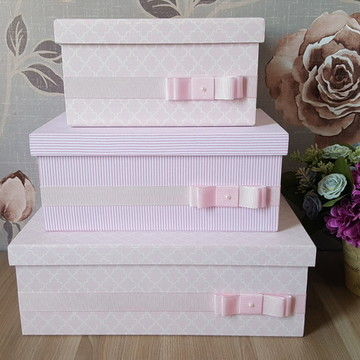 Trio de caixas rosa