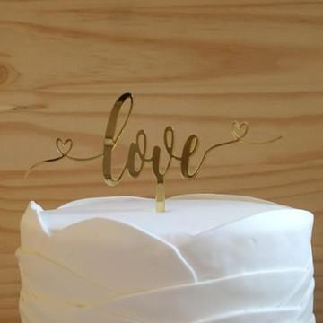Cake topper em acrílico Love