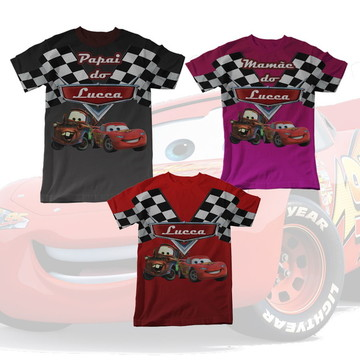 Kit Familia 3 Camisetas Carros Disney Pixar Cars