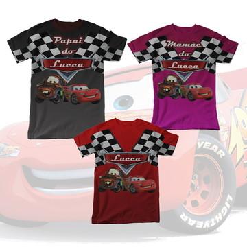 Kit 3 Camisetas Carros Disney Pixar Cars Família