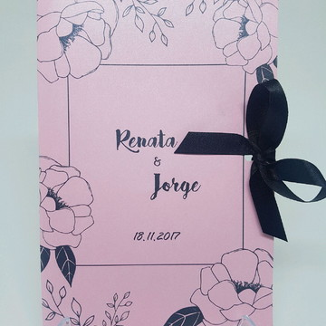 convite de 15 anos pink e preto