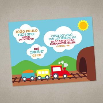 Convite Digital Trem Meios de Transporte