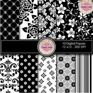 Kit Digital Papéis Rosas Pretas