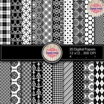 Kit Digital Papéis Branco e Preto