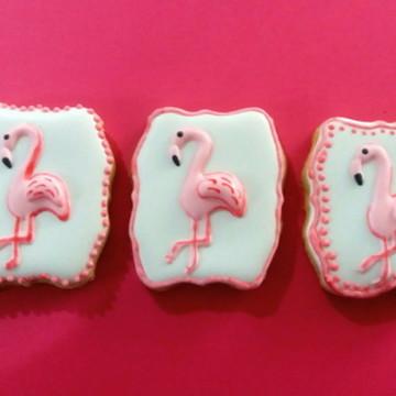 Biscoito decorado flamingos