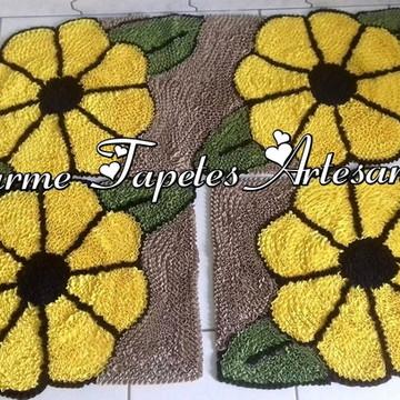 Flores amarelas tapetes para decoração da cozinha