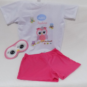 Kit pijama, máscara e chinelo