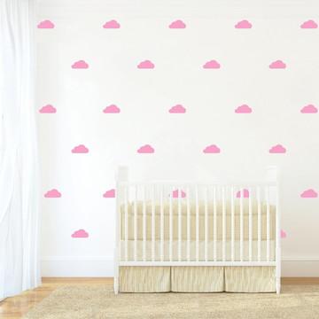 Adesivo nuvens rosa bebe