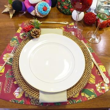 Jogo Americano natal para mesa redonda