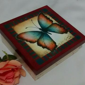 Mini Caixa Vermelha Borboleta com Sabonete para Presentear