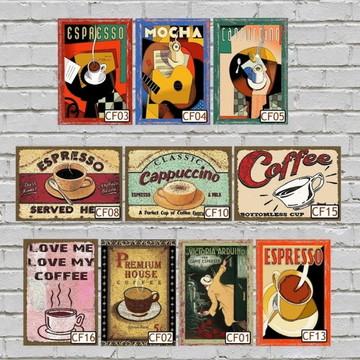 10 Quadros Decorativos Café Vintage