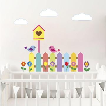 Adesivo de parede Berço Quarto de Bebe Galho Passaros Nuvens