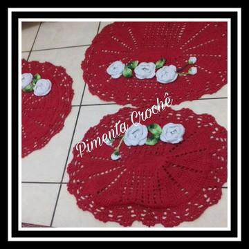 Kit de Banheiro Vermelho e Branco