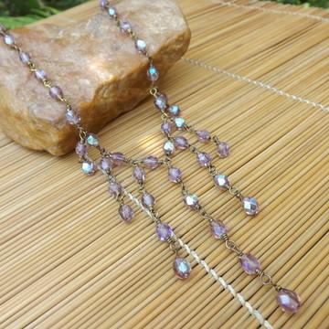 colar de cristais lilás furta-cor