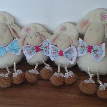 Familia de ovelha perna de pérola -ovelha decorativa- gêmeos