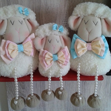 Familia de ovelha - ovelha decorativa - candy colors